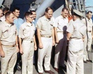 Ens. Jim Bruun, Ens. Scott Beachy, LTJG Todd Frazier & LCDR Gordon Monteath - 1967 - SUBMITTED BY RD3 ROBERT LANDIS, OI DIVISION.jpg