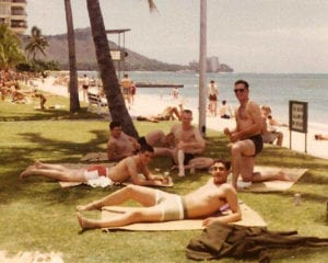 Radar Gang on the beach at Waikiki - 1967 - SUBMITTED BY RD3 ROBERT LANDIS, OI DIVISION 1966-68