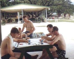 Warner, LTJG Red Cavaney, RD3 Ed Dertinger & RD1 John Bjerke - 1967 - SUBMITTED BY RD3 ROBERT LANDIS, OI DIVISION 1966-68